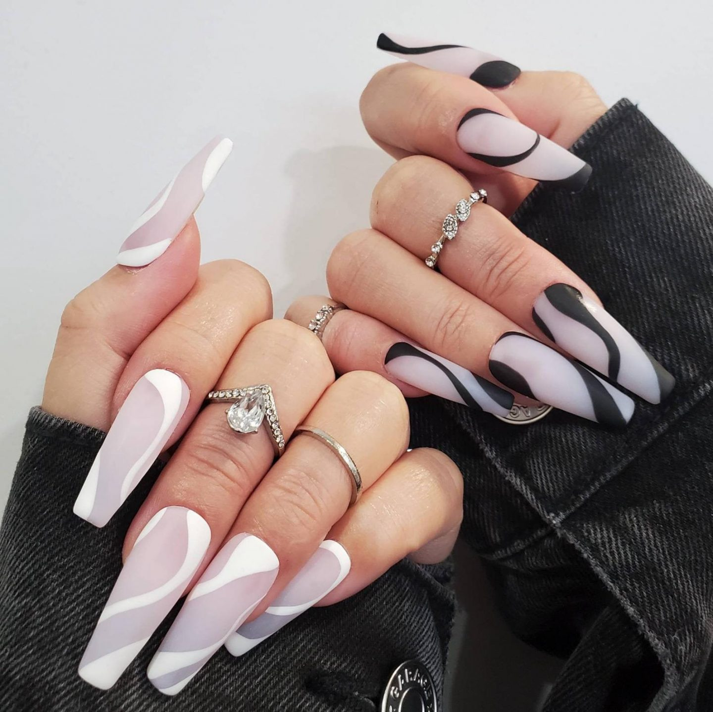 Cute black and white abstract nail designs
