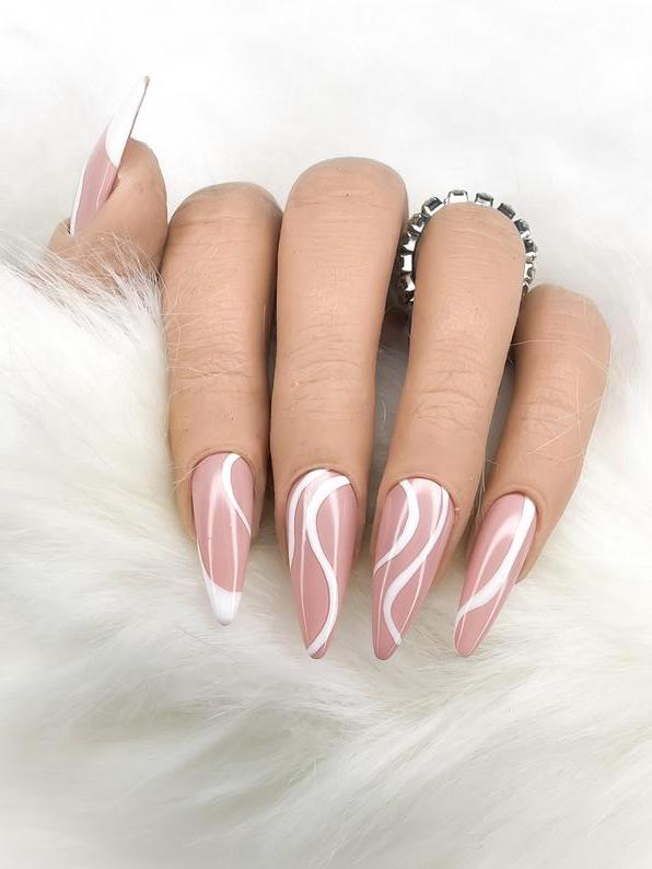 Cute abstract nails with white swirls