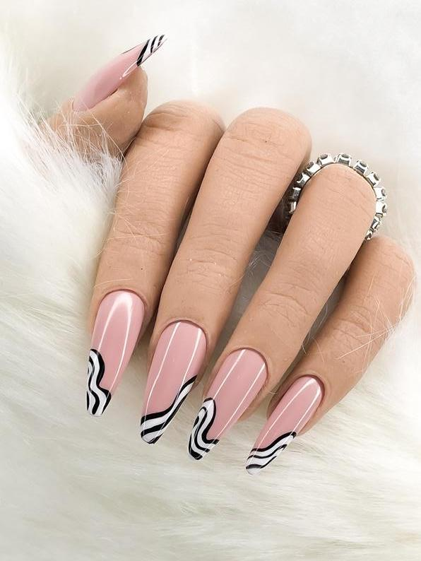 Cute black and white French tip nails