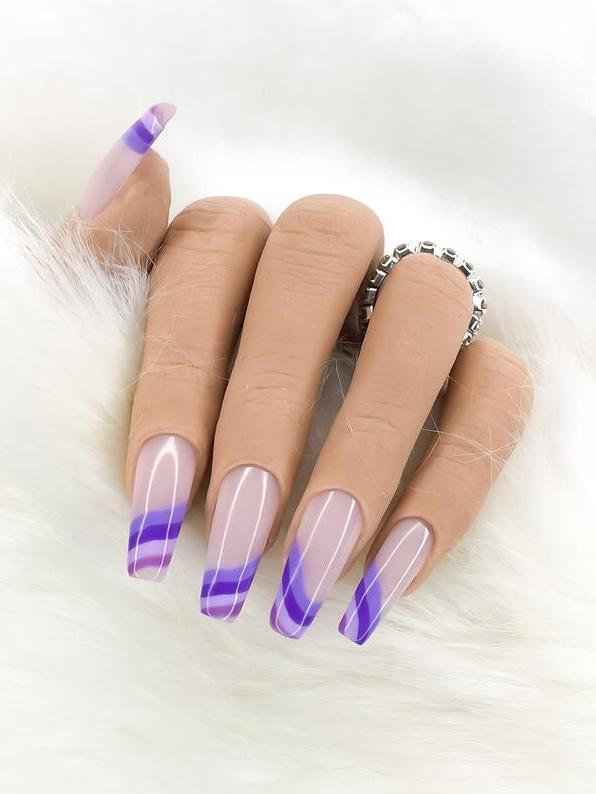 Cute purple French tip nails