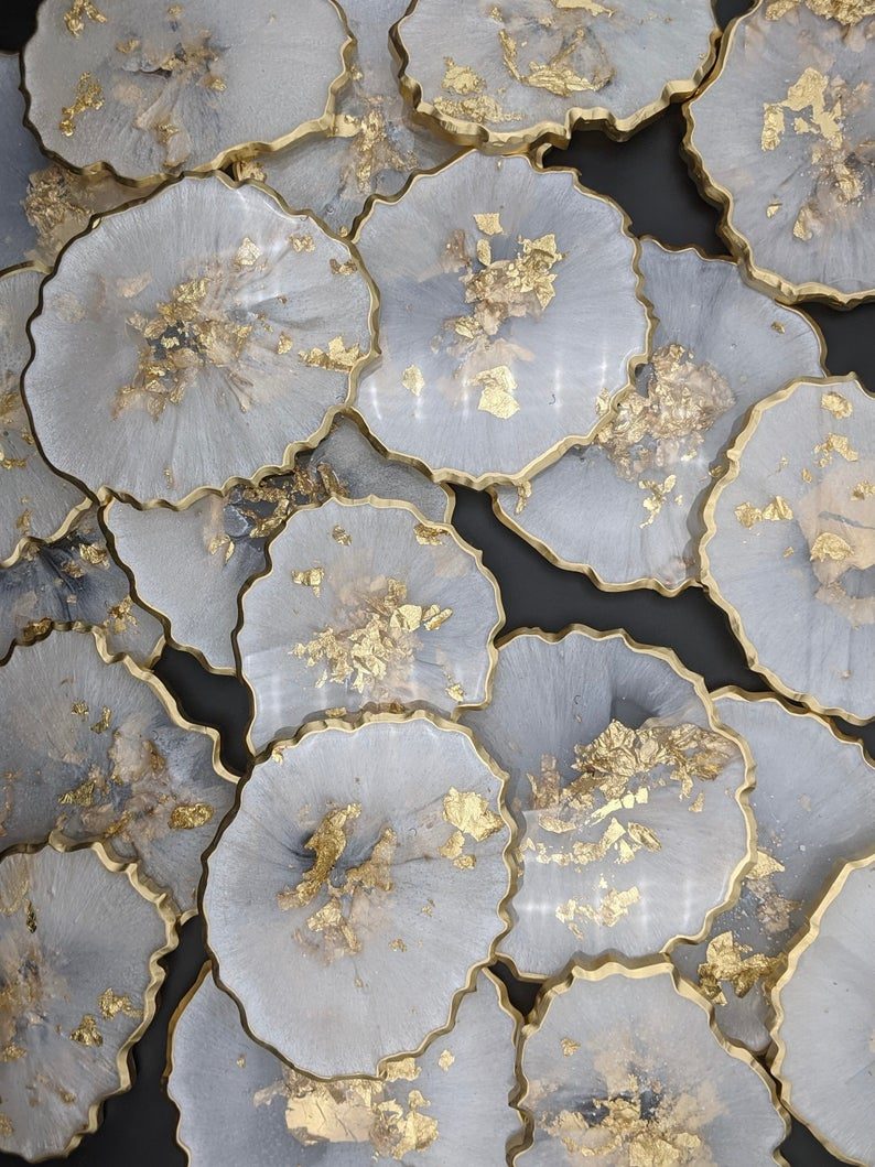 White marble and gold agate coasters