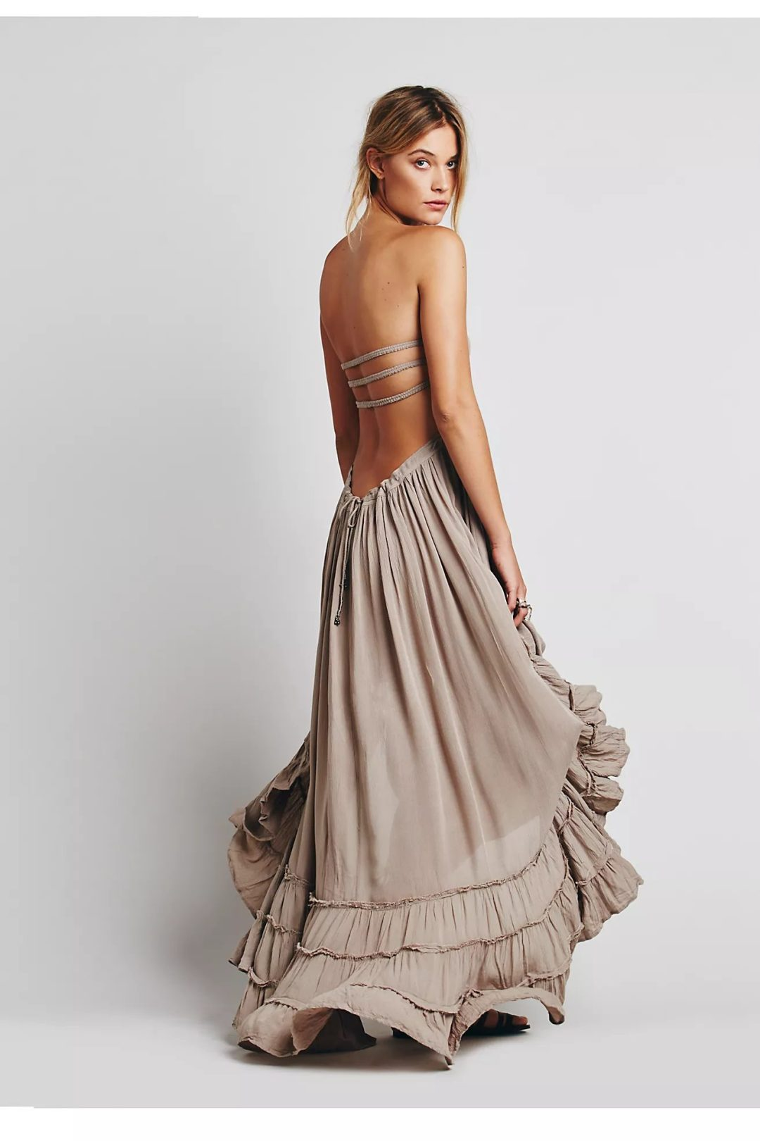 Affordable beige long beach dress with ruffles