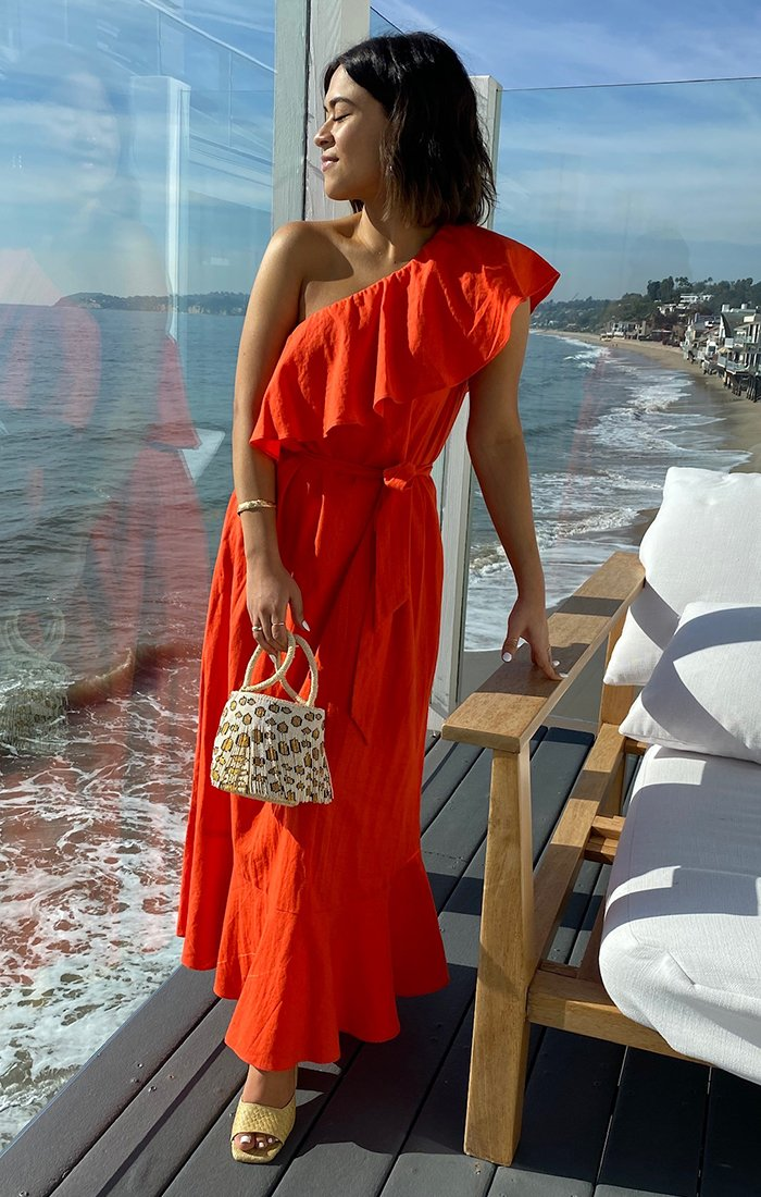 Long red beach dresses and summer outfits with ruffles
