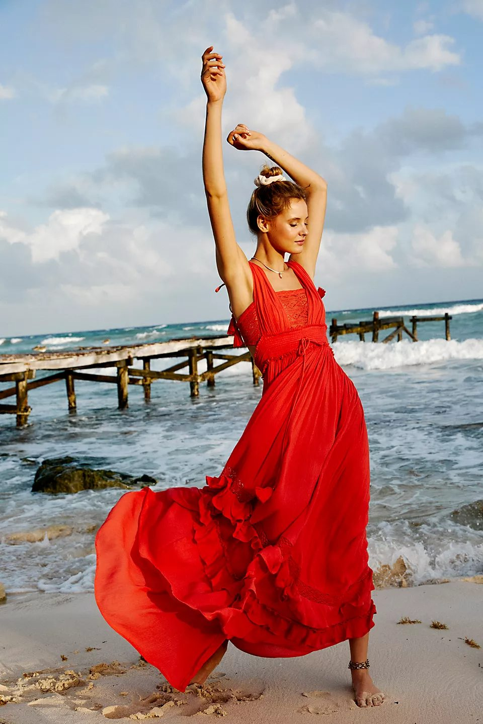 Long red maxi dress for the beach