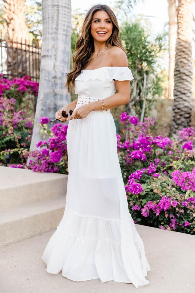 Cute and affordable white long beach dress