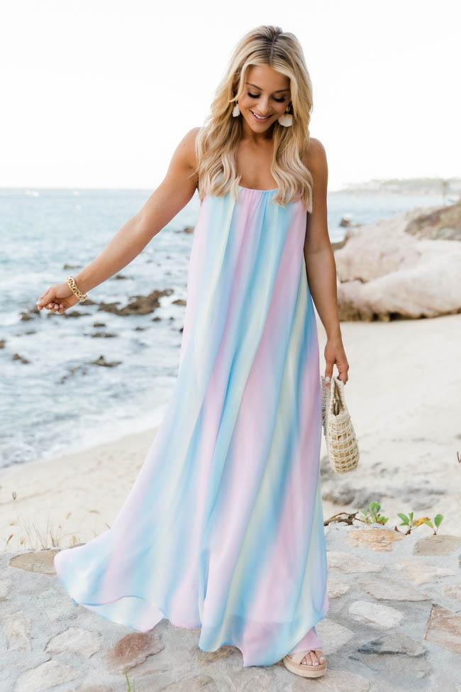 Pastel blue maxi dress for the beach