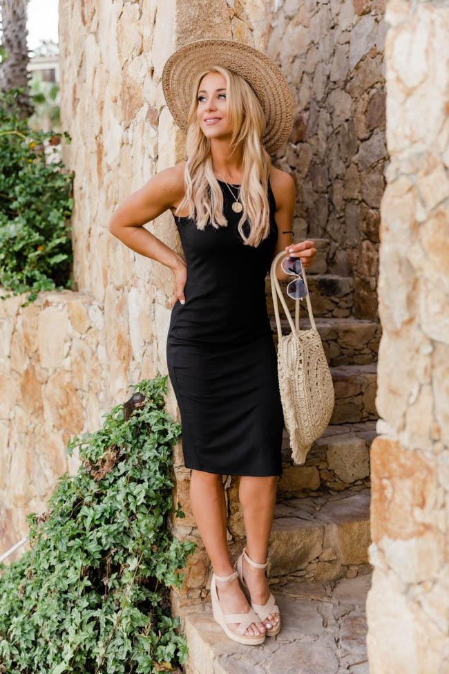 Casual black midi dress summer outfit