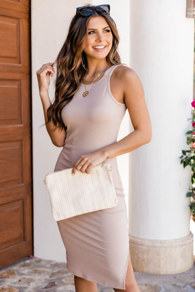 Casual summer outfit with beige dress