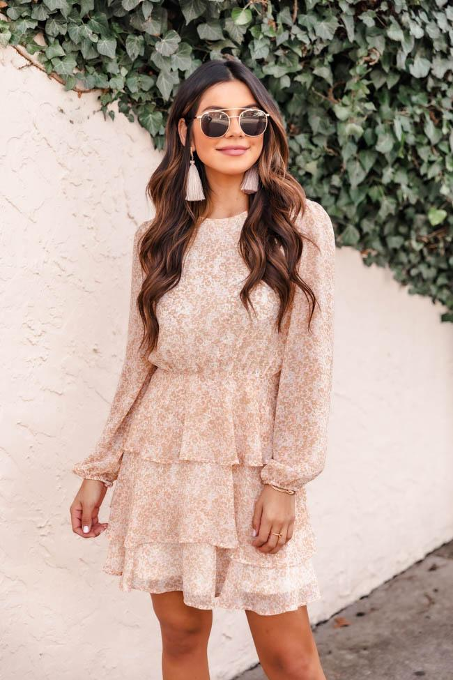 Pastel pink and floral beach dress with long sleeves