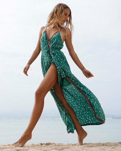 Green floral maxi dress for the beach