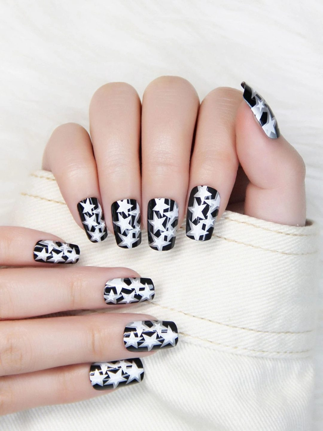 Black and white star nails