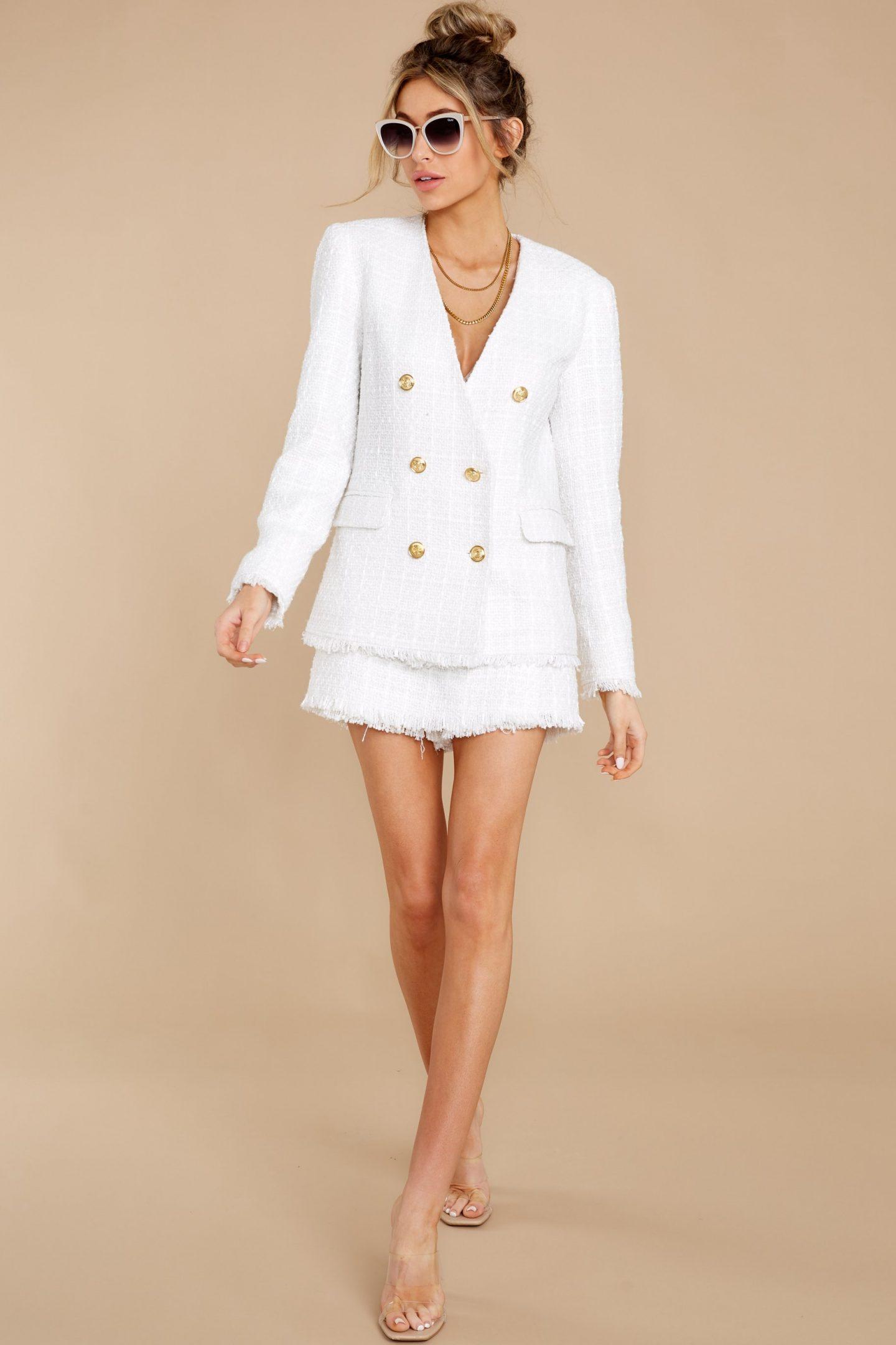 Matching white blazer and skirt