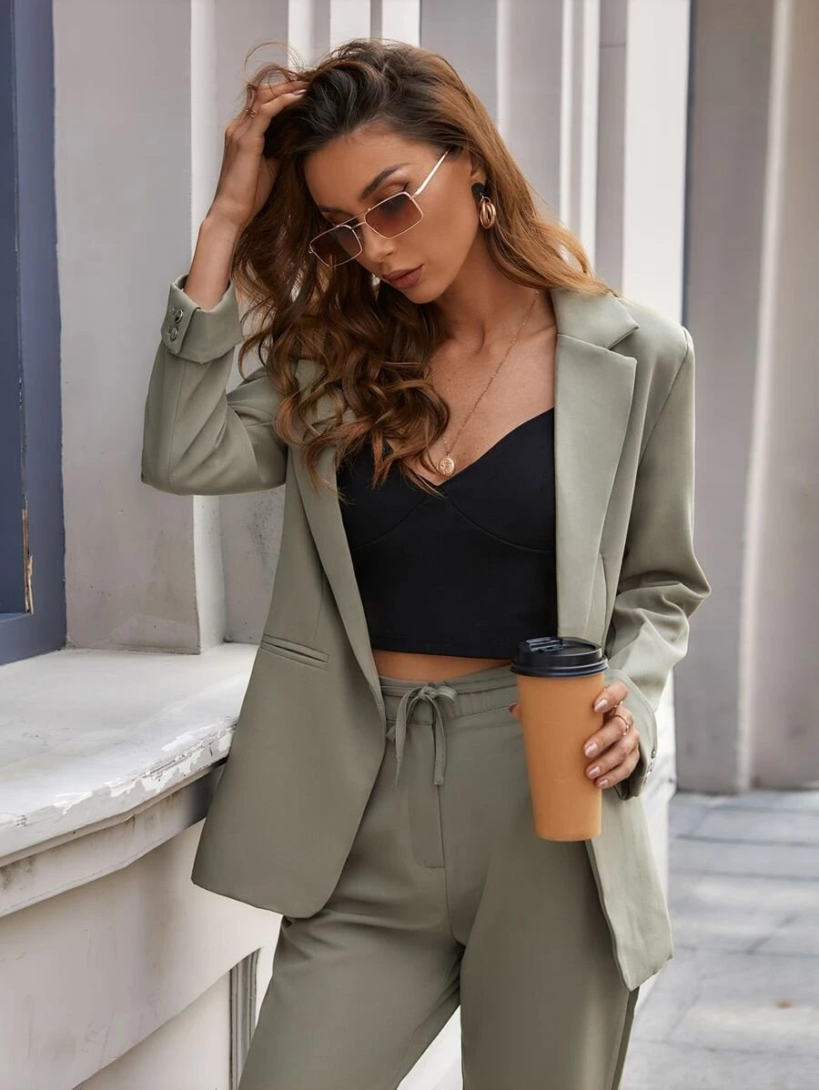 Khaki and olive green blazer outfit with matching trousers