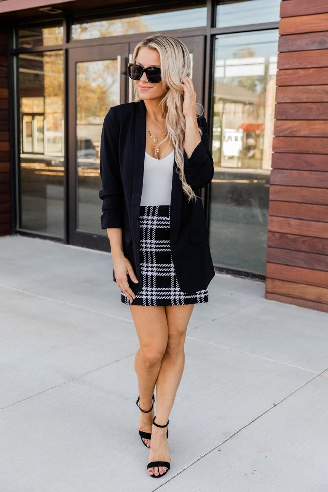 Business casual blazer outfit with skirt