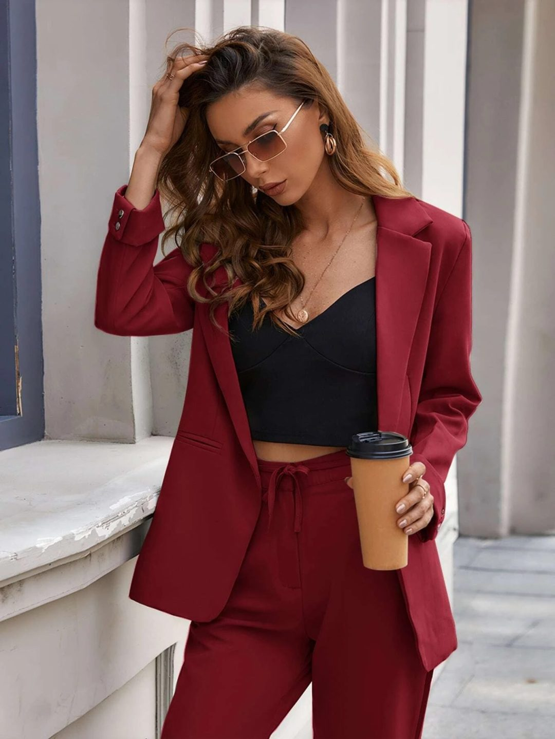 Red burgundy blazer and matching trousers