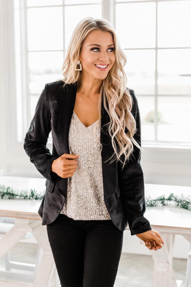 Black velvet blazer party outfit