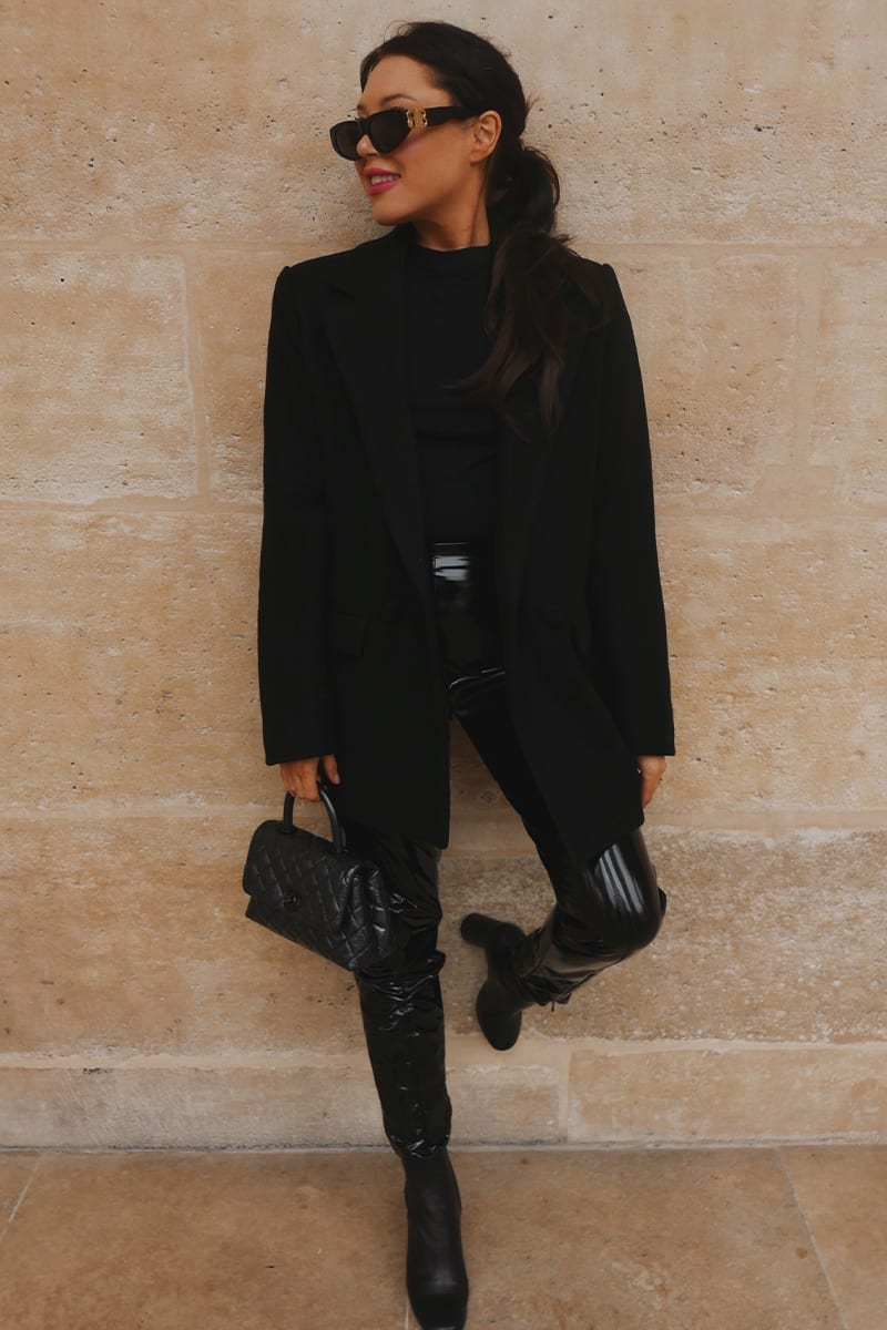 All black blazer outfit with black faux leather leggings
