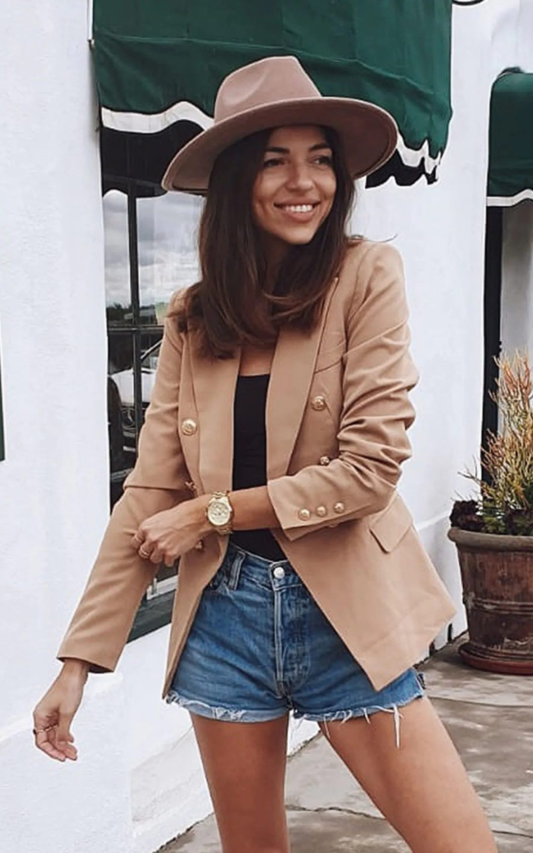 Camel blazer outfit with shorts