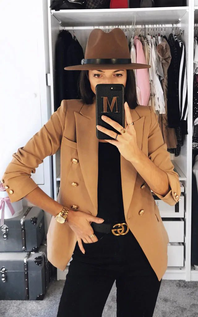 Camel blazer outfit