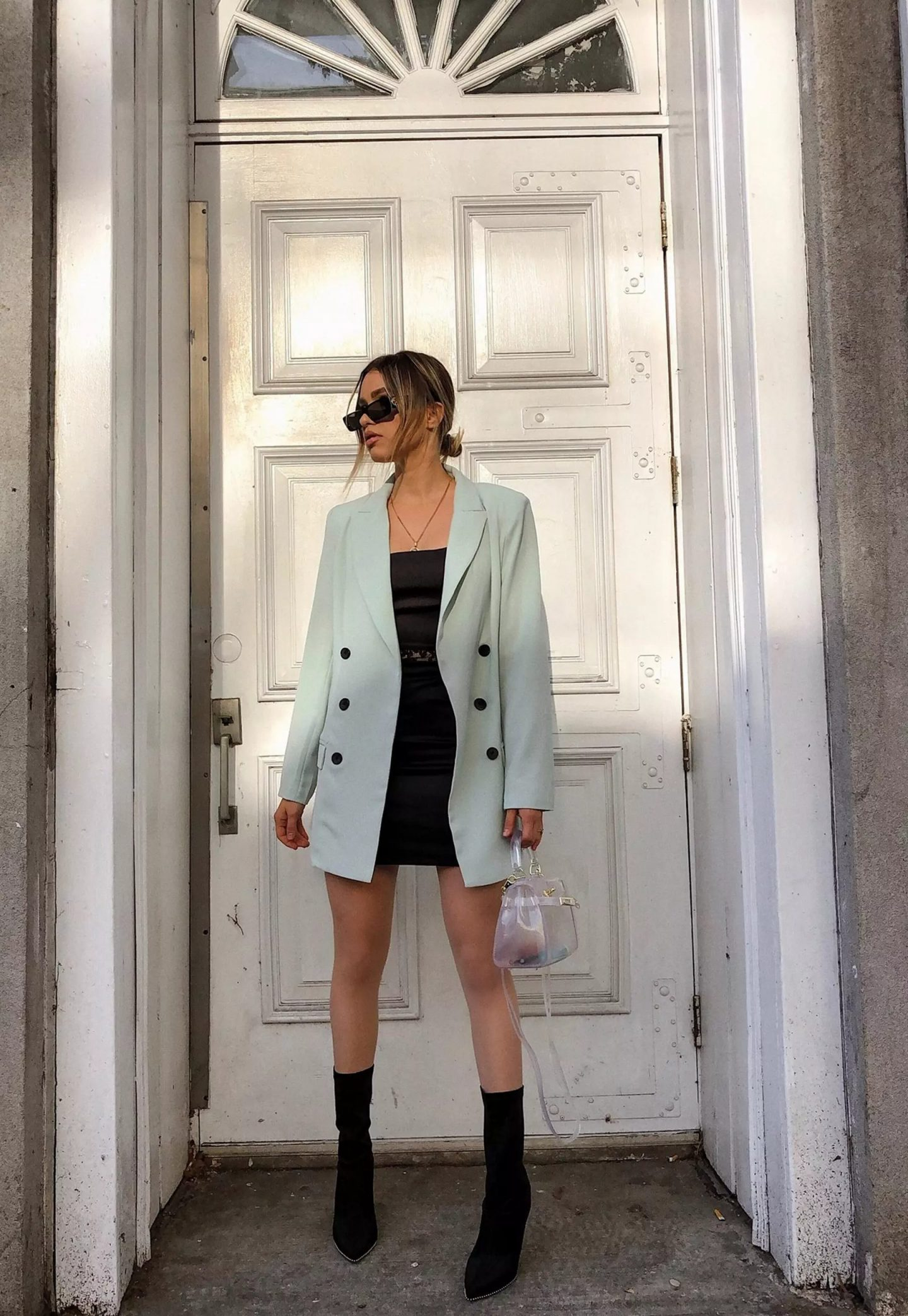 Oversized mint green blazer outfit
