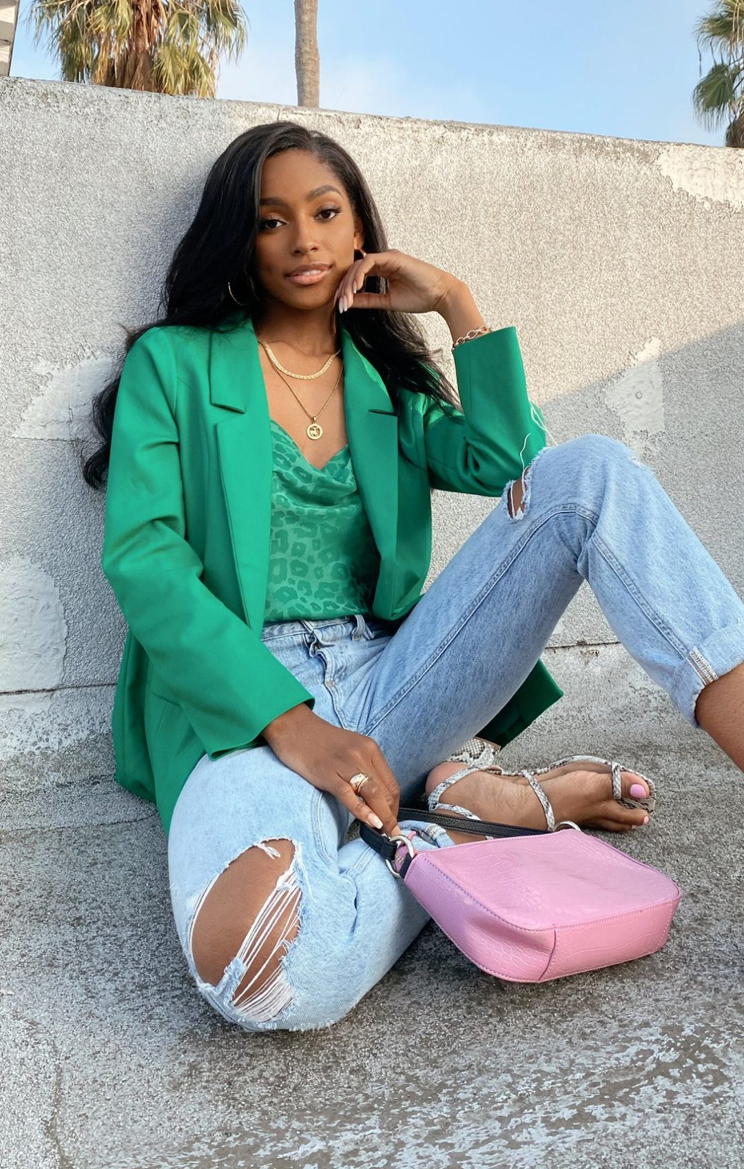 Green blazer outfit with jeans