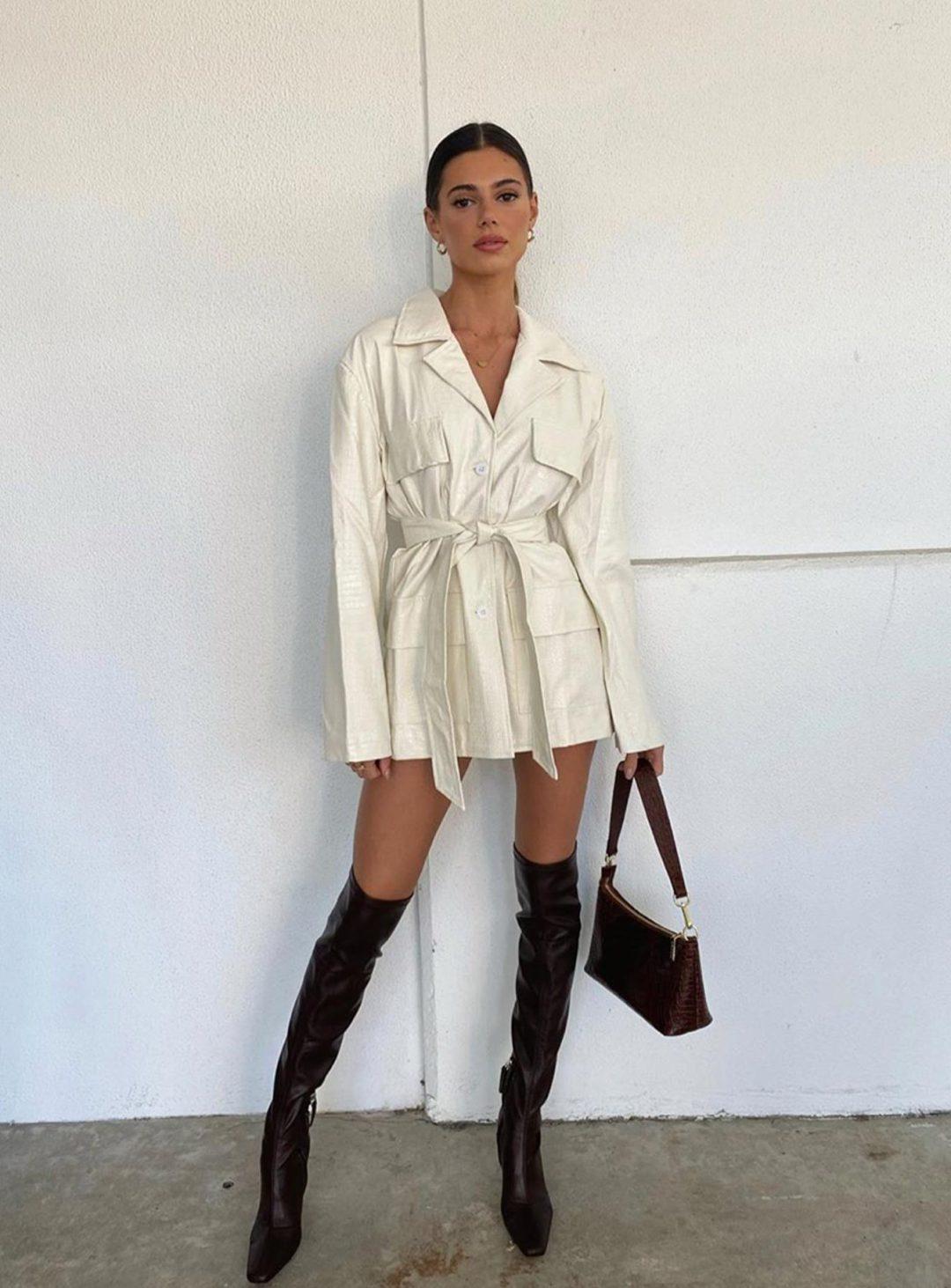 White leather blazer dress