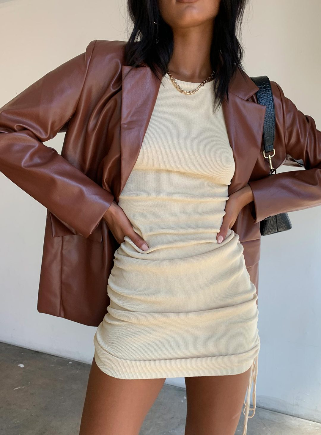 Brown faux leather blazer outfit