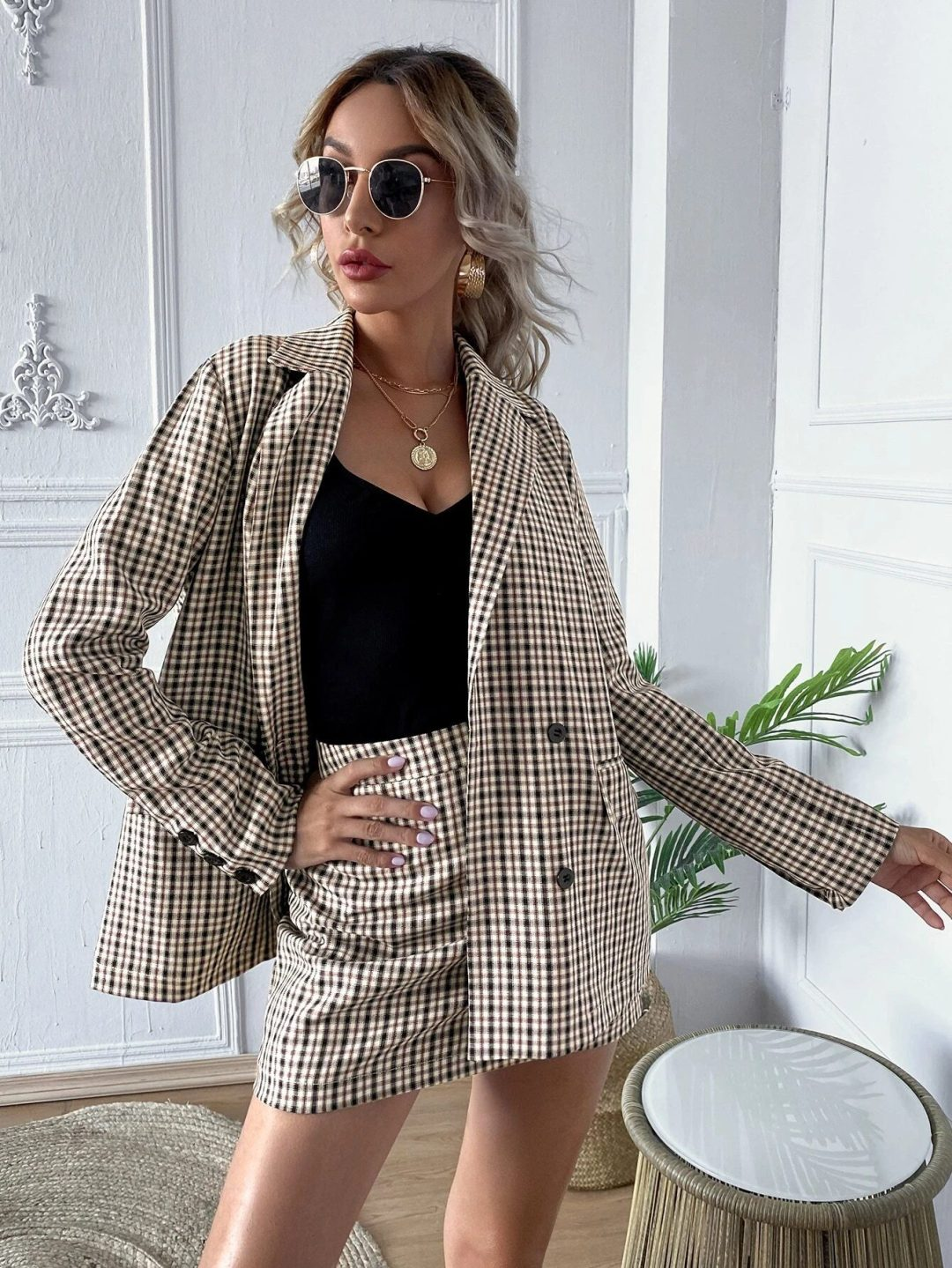 Matching plaid blazer and skirt outfit