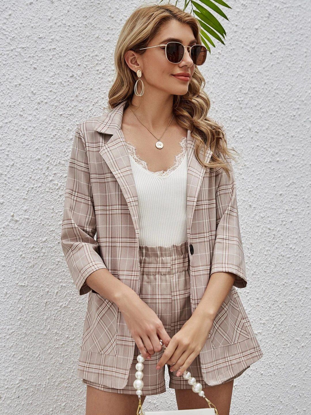 Matching plaid blazer and shorts