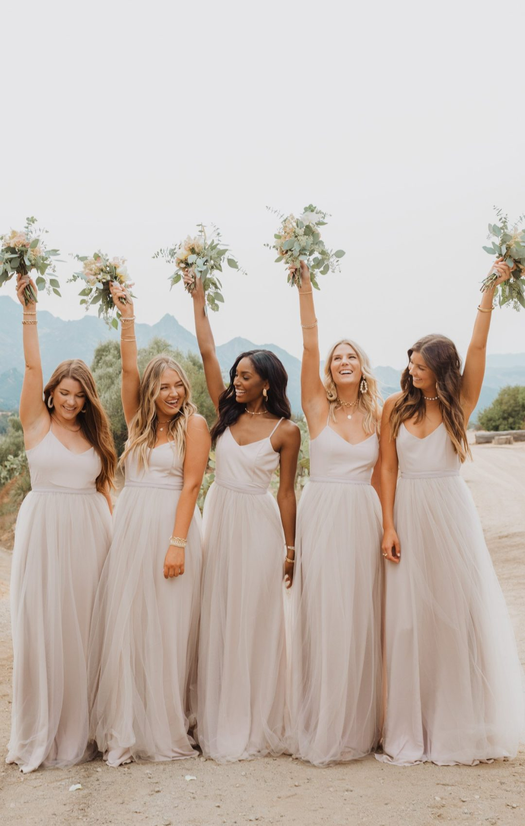 Light grey bridesmaid dresses with tulle