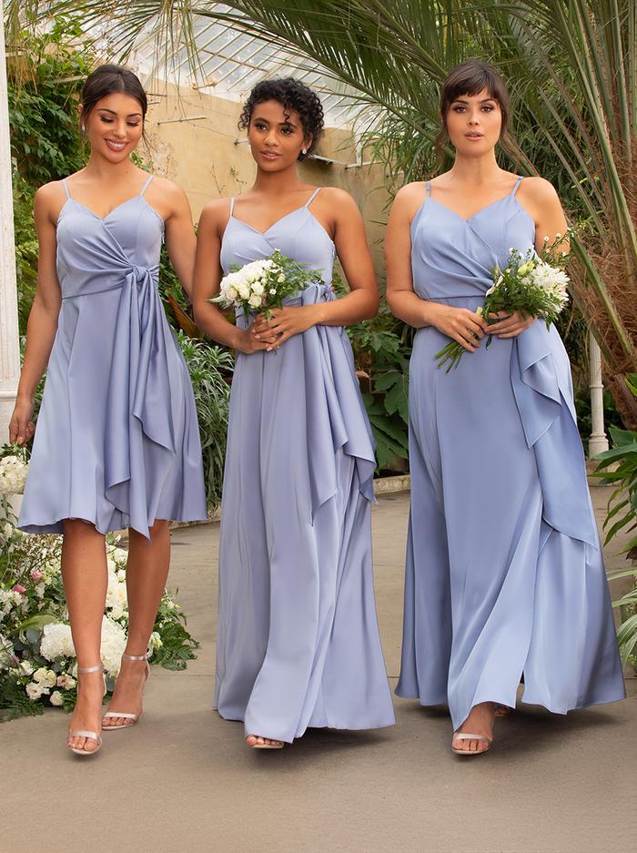 Mismatched dusty blue bridesmaid dresses
