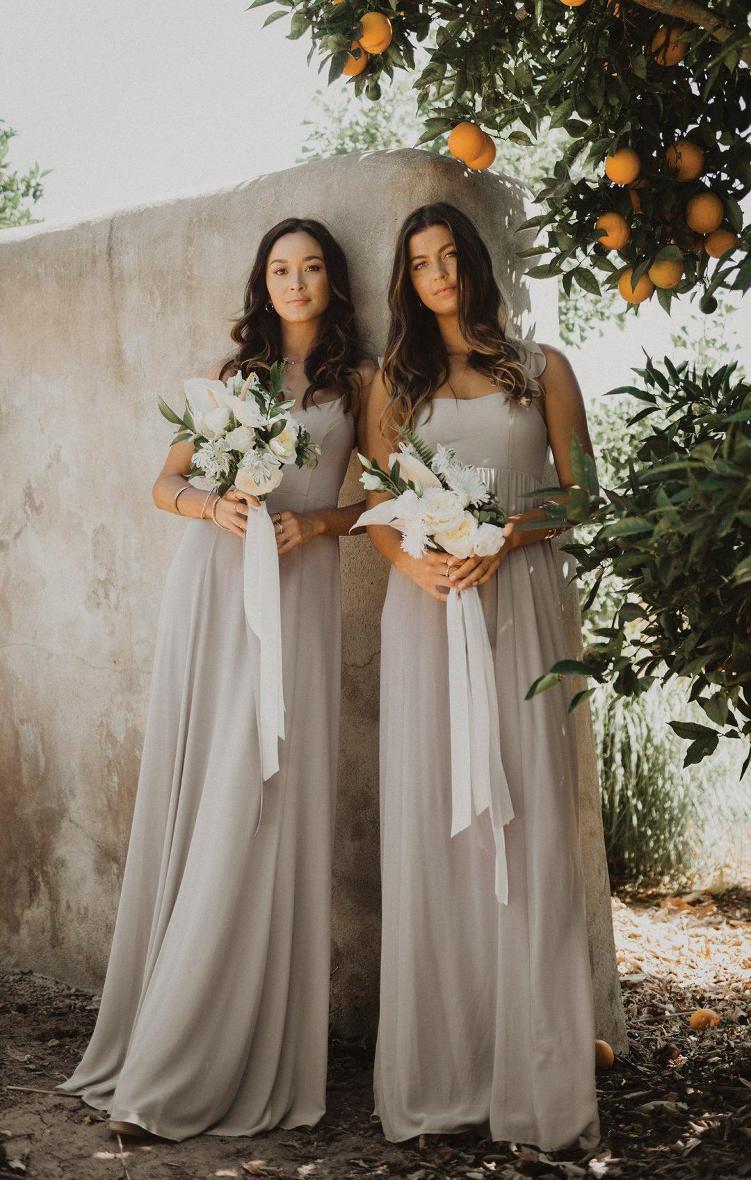 Light grey chiffon bridesmaid dresses