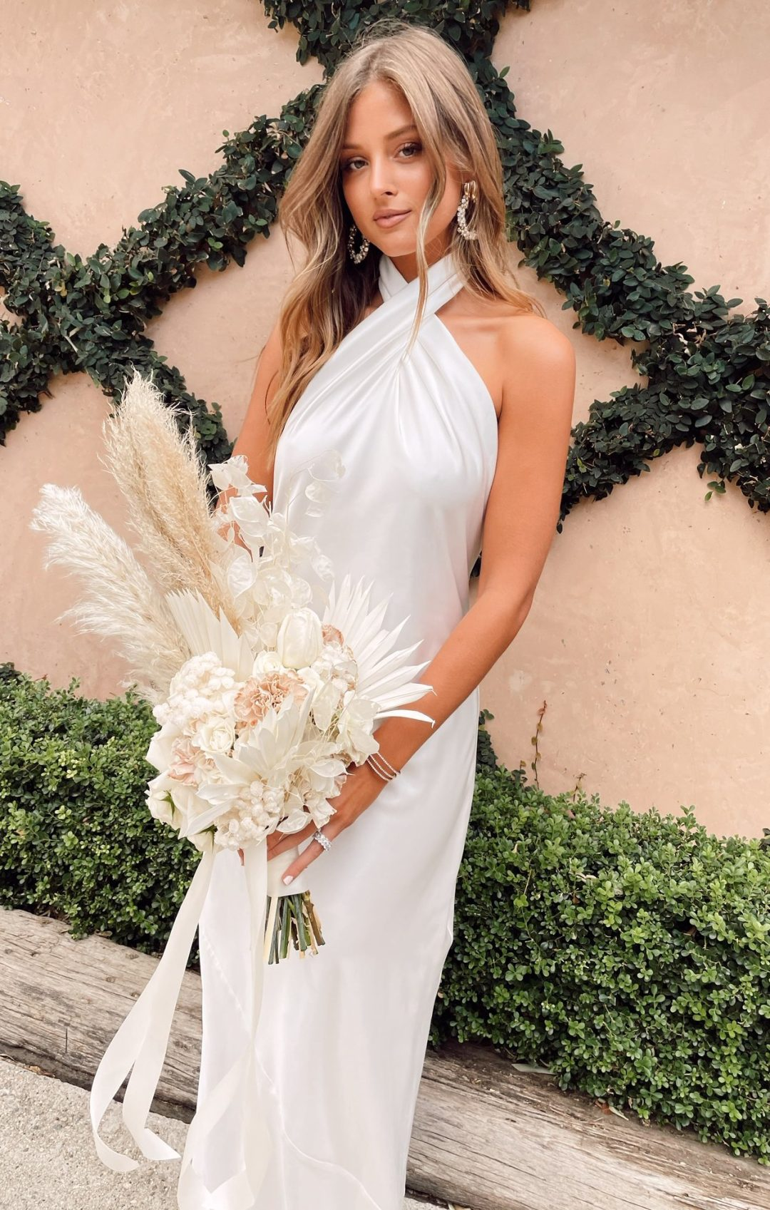 Affordable white bridesmaid dresses with halter neck
