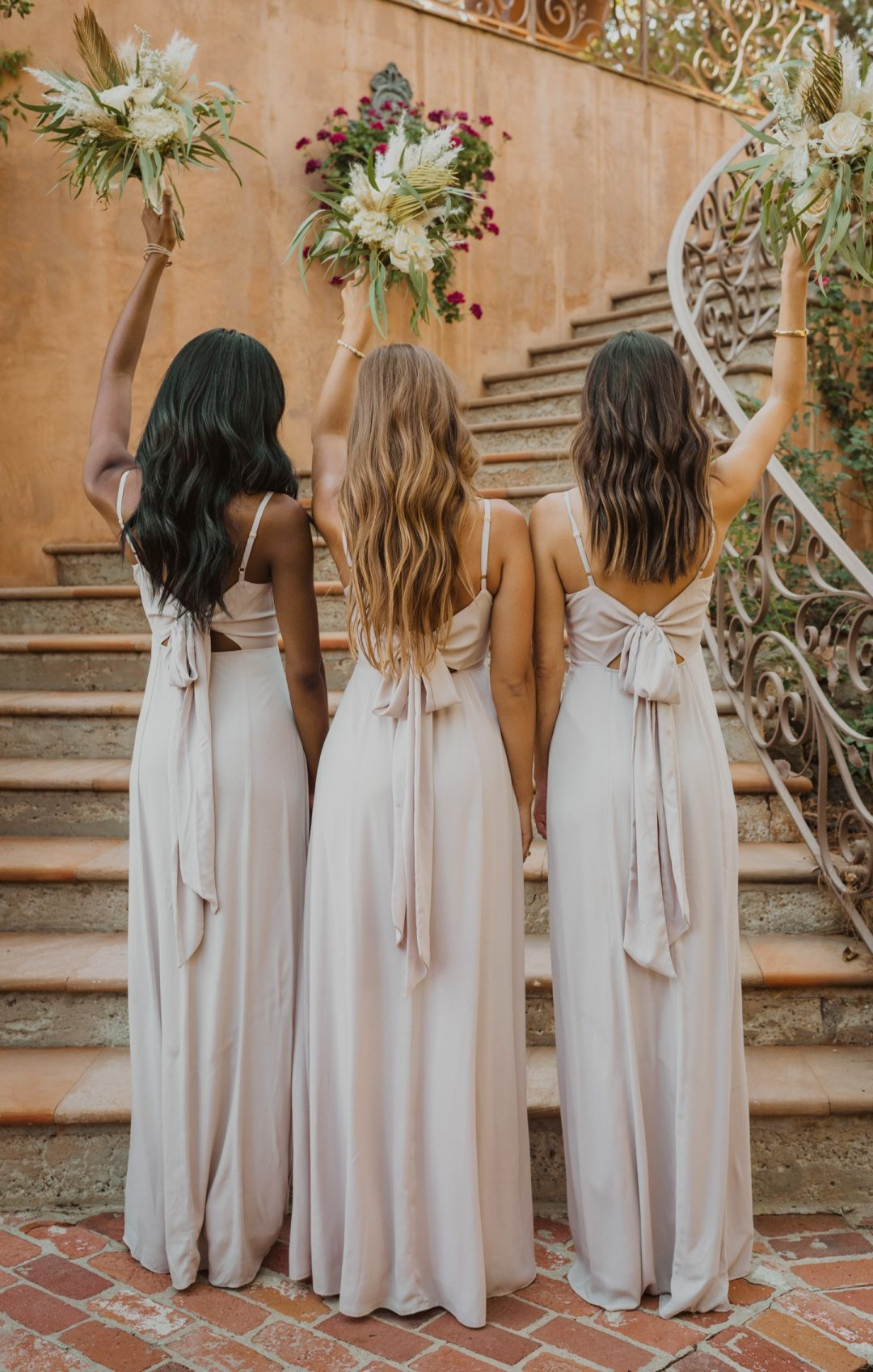 Affordable grey bridesmaid dresses with tie ribbon