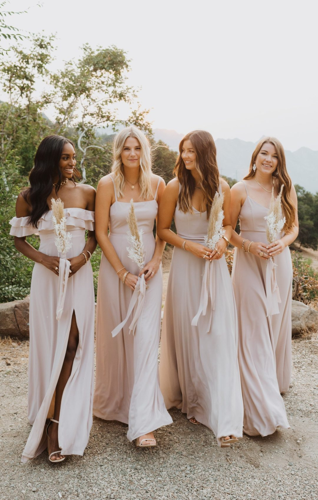 Blush pink mismatched bridesmaid dresses