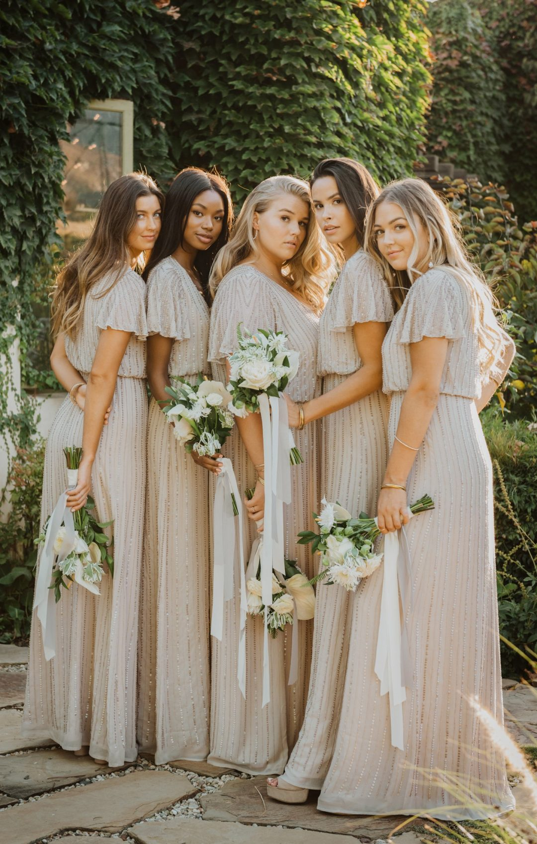 Long blush pink bridesmaid dresses with sequins and short sleeves