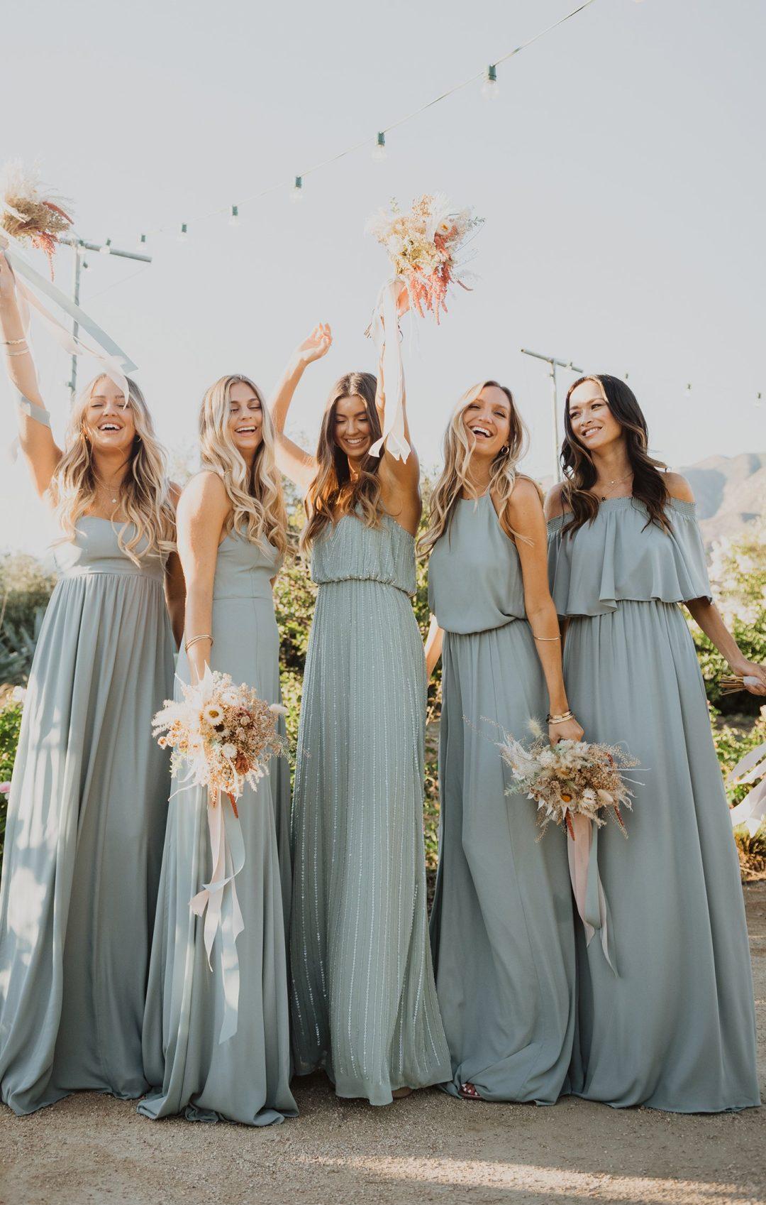 Dusty blue long mismatched bridesmaid dresses