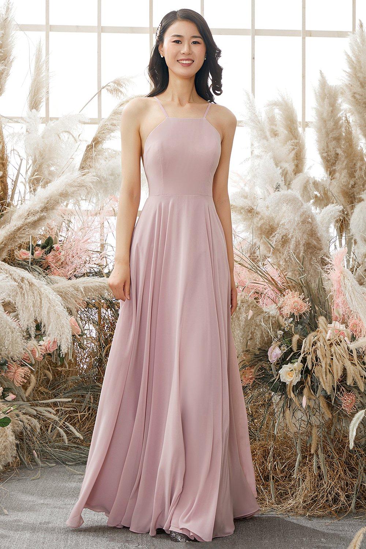 Long dusty pink bridesmaid dresses