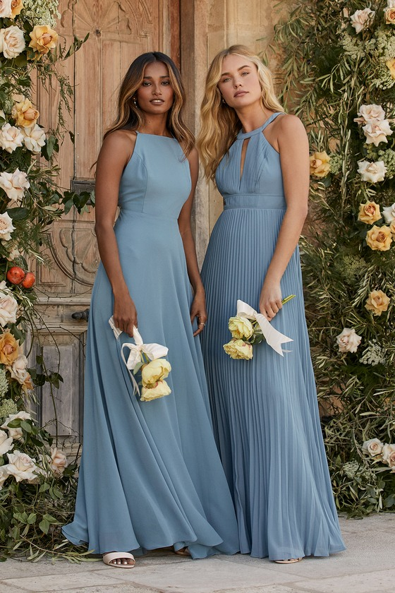 Dusty blue mismatched bridesmaid dresses