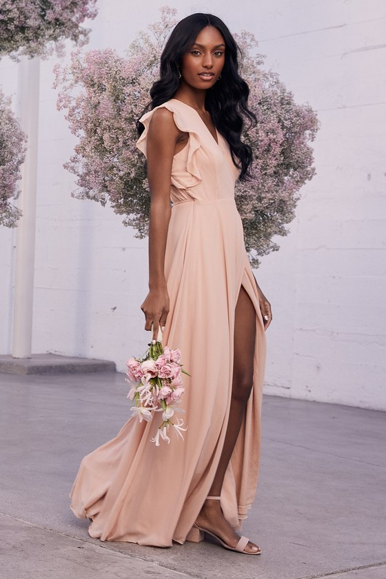 Long dusty pink bridesmaid dress with slit