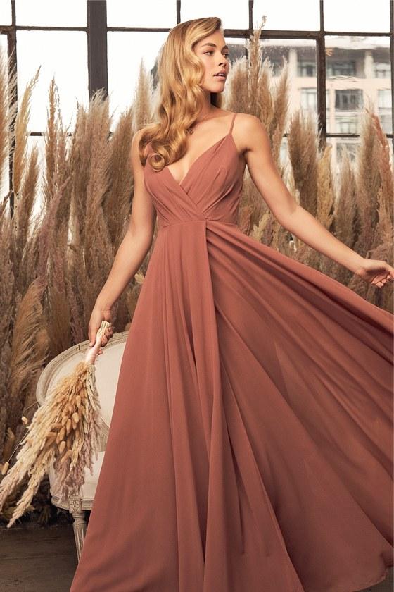 Long brown bridesmaid dress with chiffon