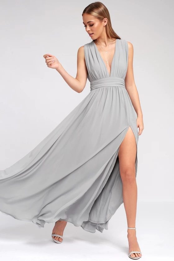 Long light grey bridesmaid dress with slit