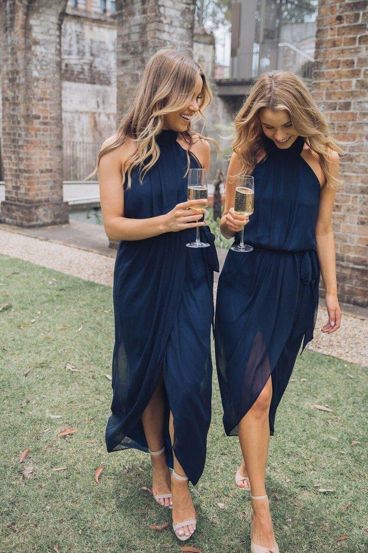 Dark navy blue chiffon bridesmaid dresses