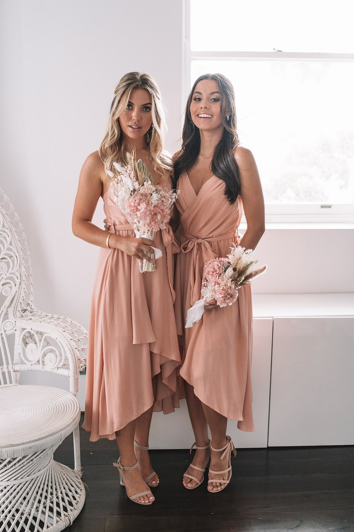 Dusty pink bridesmaid dresses with ruffles