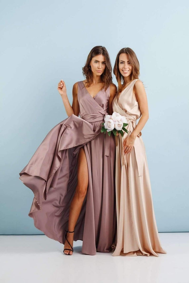Beautiful mismatched mauve and blush pink bridesmaid dresses with slit