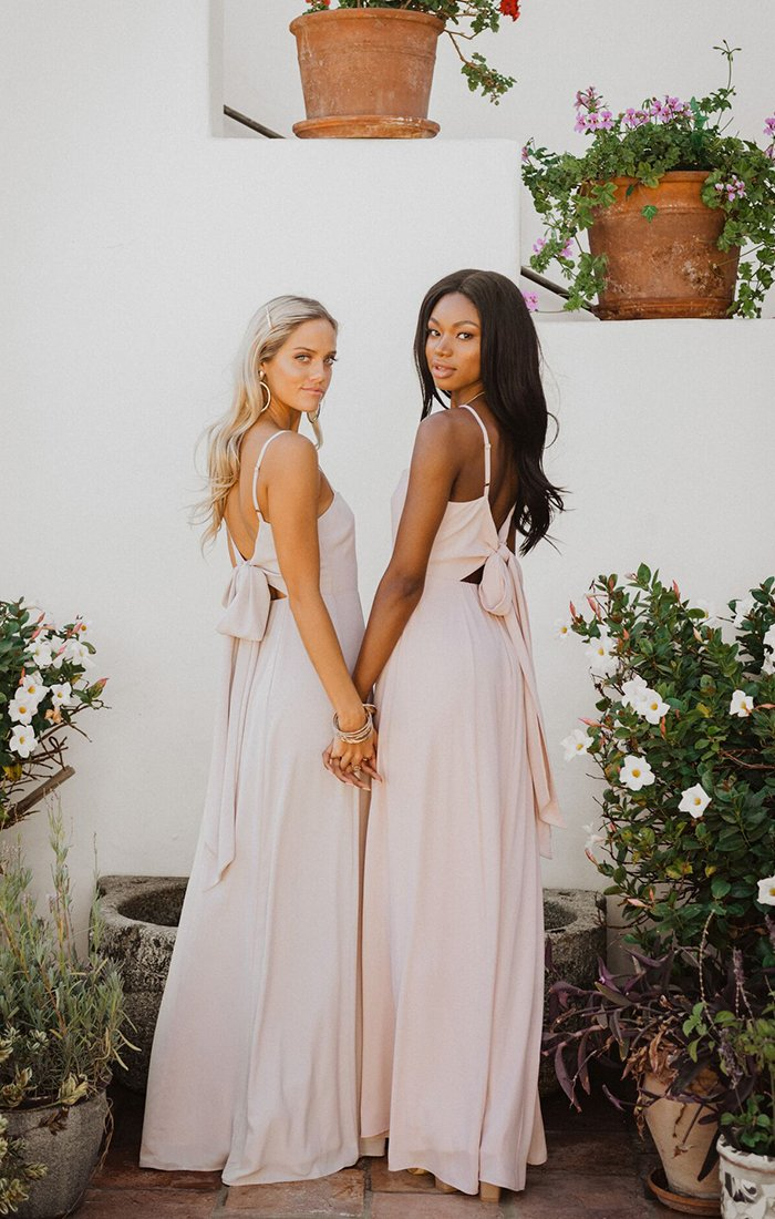 Blush pink affordable bridesmaid dresses with tie knot