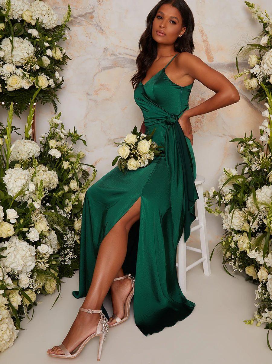 Affordable satin emerald green bridesmaid dress