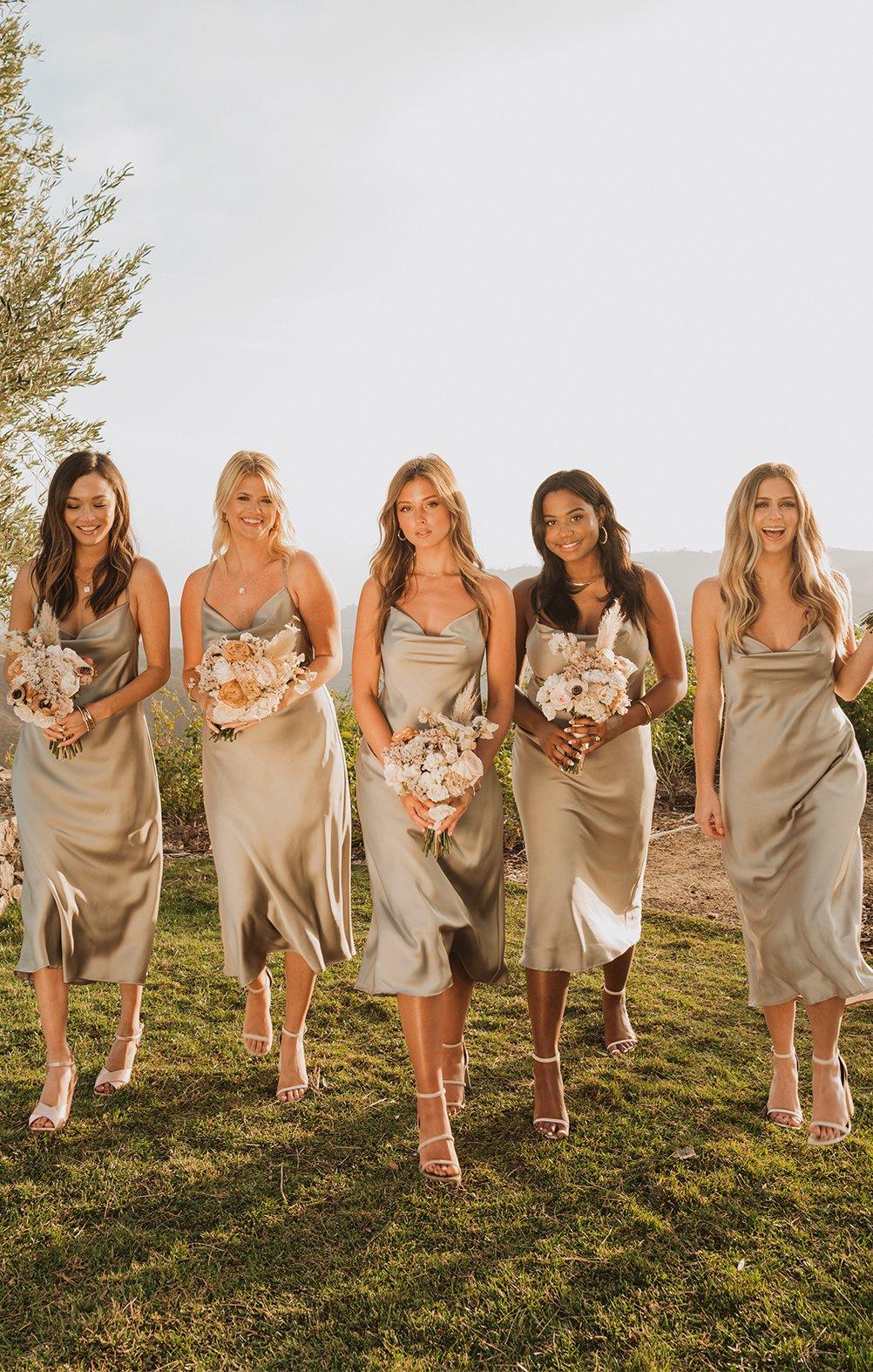 Short sage green bridesmaid dresses