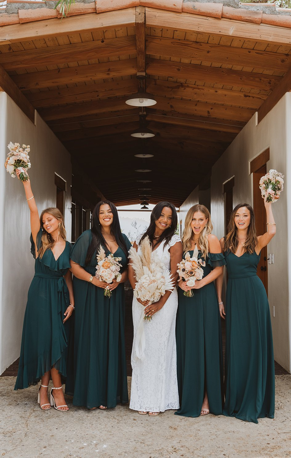 Affordable mismatched emerald green bridesmaid dresses