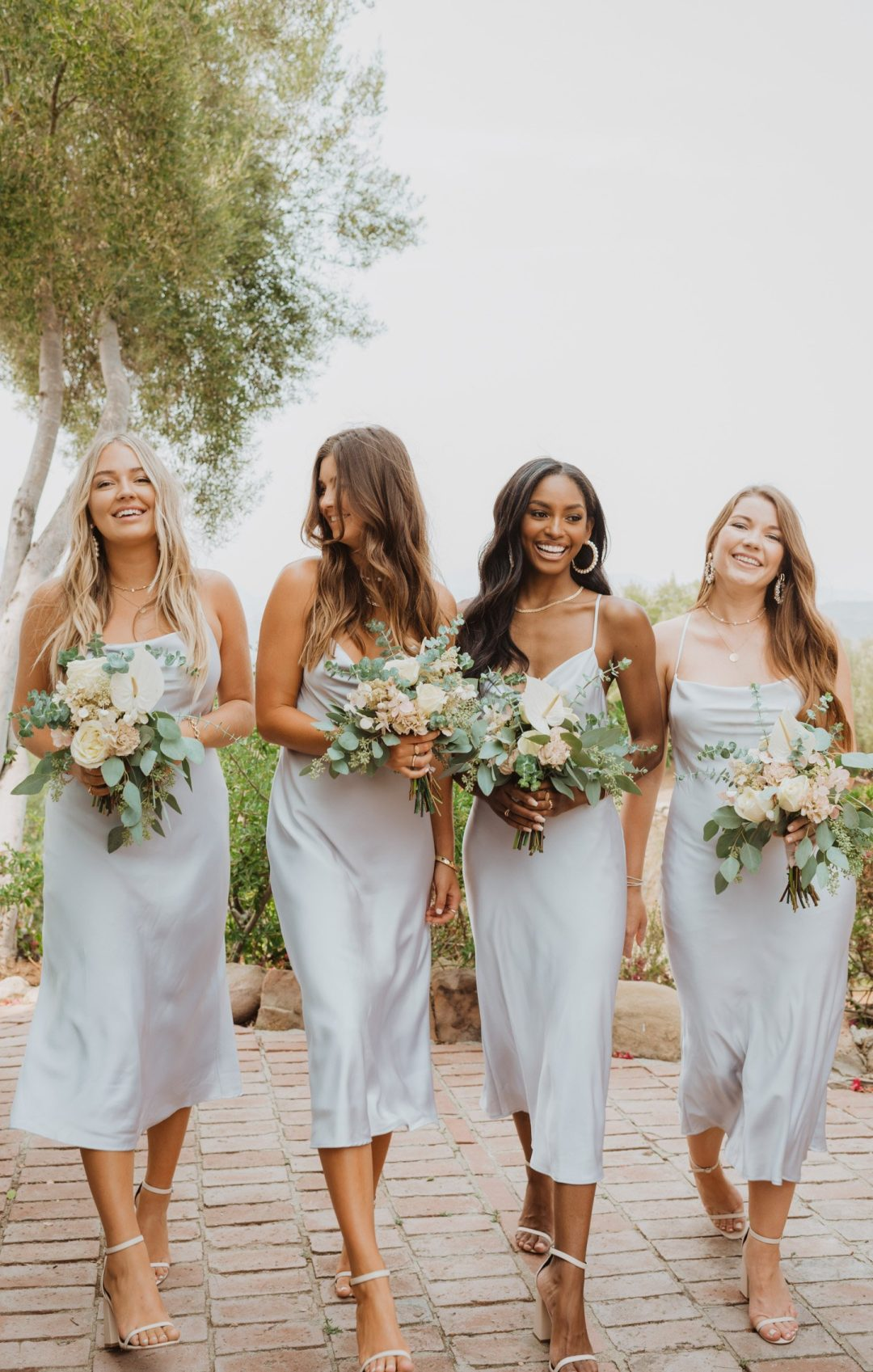 Simple silver and grey bridesmaid dresses